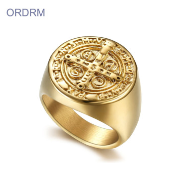 Gold Plated Saint Benedict Exorcism Ring For Man