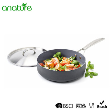 Stainless Steel Lid Hard Anodized Cooking Fry Pan