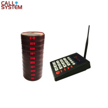 Restaurant Pager Wireless Paging Queuing System Chargeable Restaurant Equipments 1 Transmitter + 10 Coaster Pagers