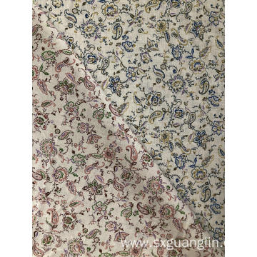 linen cotton print fabric for dress and shirt