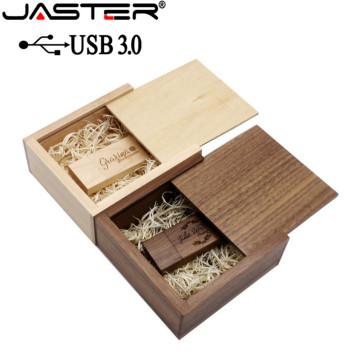 JASTER USB 3.0 walnut maple wood Photo Album usb+Box usb flash drive Pendrive 64GB 16GB 32GB Wedding gift box (105mm*95mm*40mm)