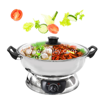 Stainless Steel Electric Hot Pot With Glass Cover