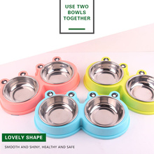Double Pet Cat Bowls Durable Stainless Steel Non-skid feeder for small medium dogs cats Food Water Feeding pets Bowl Accessories