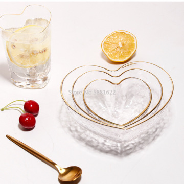 Heart Shape Bowls and Cup Set Japanese Style Glod Rim Clear Glass Food Salad Oats Fruit Dessert Snack Dish Water Milk Tea Cup