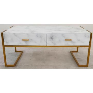 Coffee Table White Marble Glass Metal Frame
