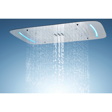 Overhead LED shower head with multiple rainfall methods