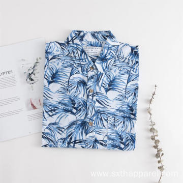 Men's Short Sleeve Plant Print Summer Shirt
