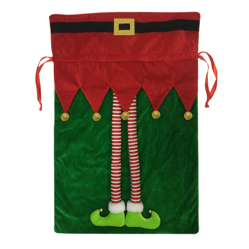 Christma Santa Sack velvet green elf bag