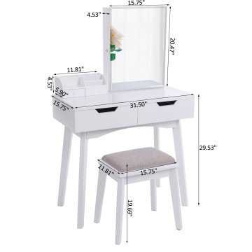 White French mirrored dressing table set