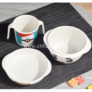 3-Pieces Bamboo Fiber Kids Dinnerware Set