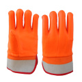 Fluorecent PVC Anti-coated gloves sandy finish safty cuff