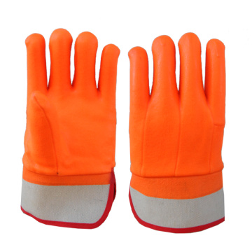 Hi-Vis Orange PVC Glove Sandy Finish Safety Cuff