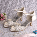 Silver Evening Shoes Low Heel Sandals