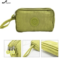 Adisputent Womens Wallets Solid 3 Layer Canvas Phone Bag Purse Short Wallet Three-Layer Zipper Coin Card Key Purse Fast Shipping