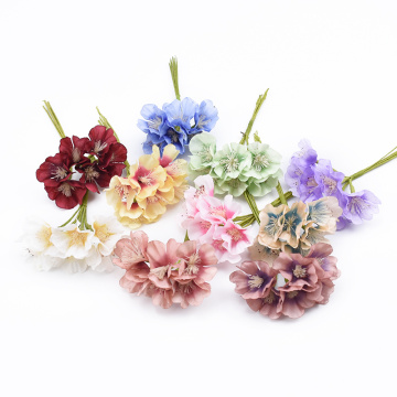 6pcs Fresh silk Plum blossom decorative flowers for home decor wedding bridal accessories clearance diy gifts artificial flowers