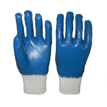 Blue nitrile flannel lined gloves knit wrist
