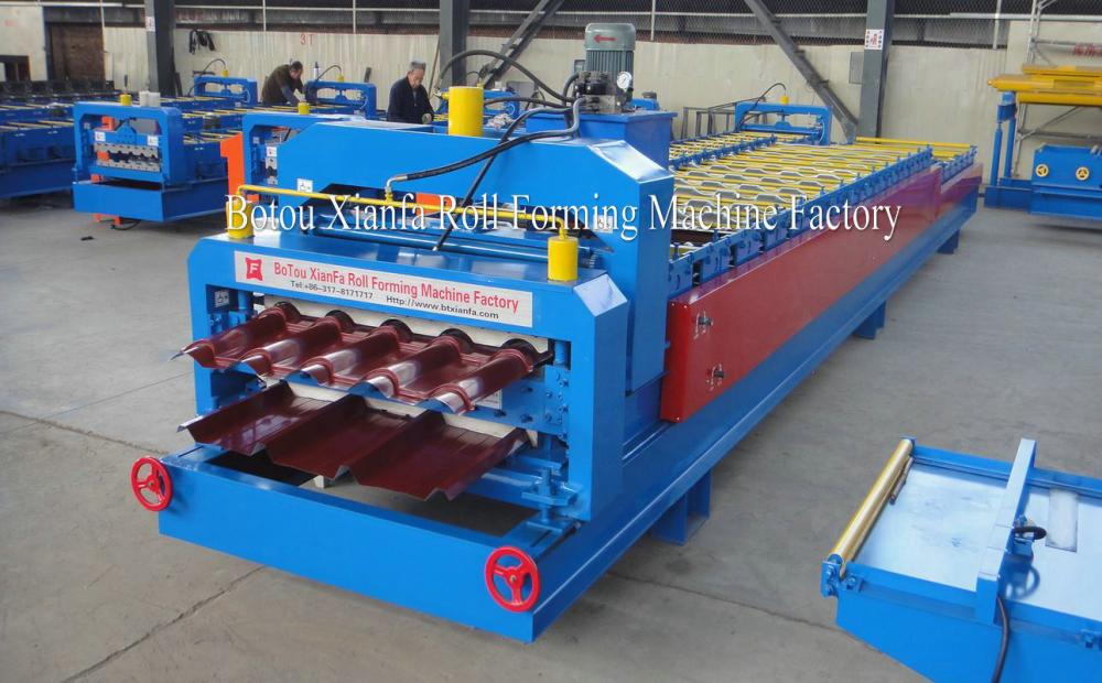Maroon Glazed Chile 2 Layer Tile Roll Forming Machine