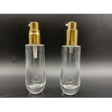 40ml transparent round cosmetic latex pump glass bottle