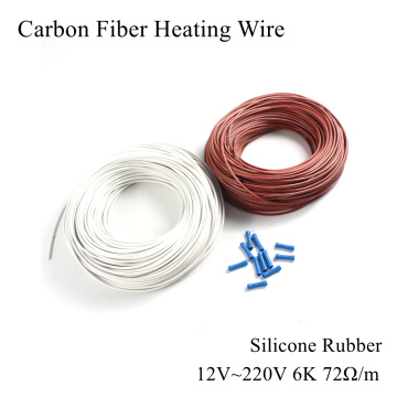 12V 220V 6K 72Ω/m Carbon Fiber Heating Cable Silicone Rubber Heat Wire Freeze Infrared Water Pipe Frost Warm Floor Sewer Car
