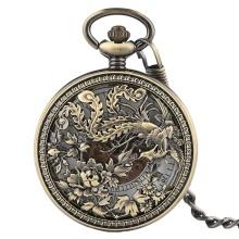 Vintage Exquisite Carving Phoenix Automatic Mechanical Pocket Watch Chain Women Fob Watches Fashion Retro Copper Hollow Clock
