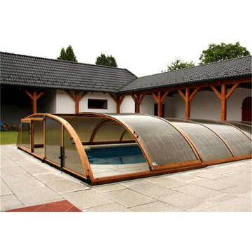Aluminium Retractable Swimming Pool Glass Roof Enclosure
