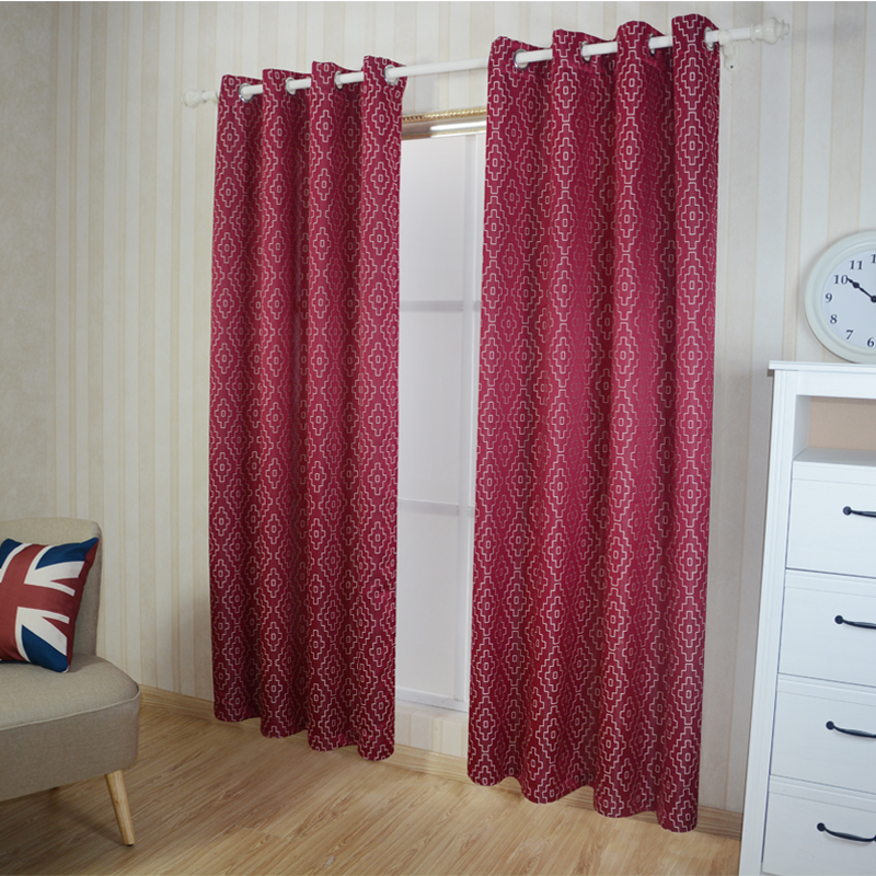 Polyester Jacquard Pattern of Window Curtain Fabric GF026 Red