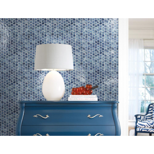 Living Room Wall Blue Glass Mosaic Tile Decoration