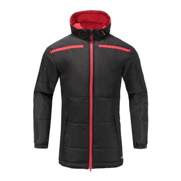 Mens Soccer Wear Zip Up Hoodies Black Red