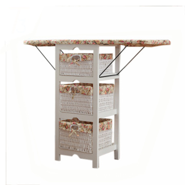 foldable ironing board solid wood cabinet top center storage basket