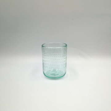 Recycled green color glass tumbler for candle