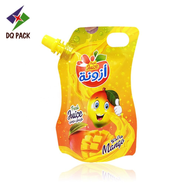 Injection juice pouch stand up spout pouch with customized printing