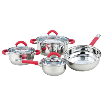 7 Pieces Cookware with Red Heat Resistant Handles