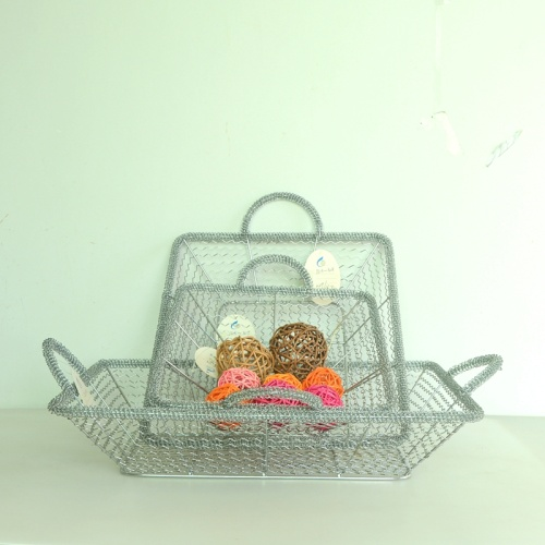 Silver rectangular wire storage basket