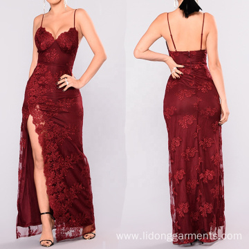 Long Sexy V-neck Lady Formal Evening Red Dress