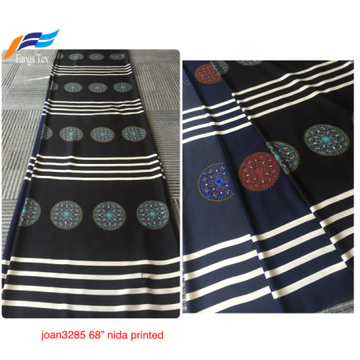 Customized 100% Polyester Nida Printing Digital Black Fabric