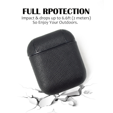 2020 hot selling pebble leather case for airpord , simple design with metal key ring