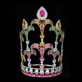 Large Colorful Princess Girl Pageant Crown Tiara