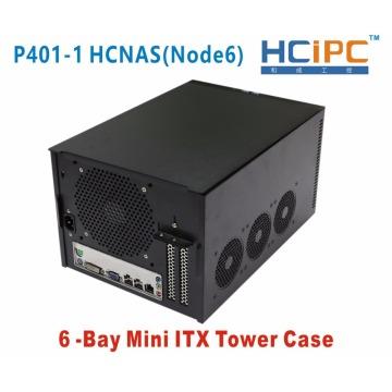 HCiPC 6Bay Mini ITX Tower Case,6Bay NAD HDD Enclosure,P401-1 HCNAS(Node6),6bay NAS Server