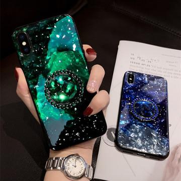 Glitter Conch Shell Case For Huawei P30 Lite P20 Honor 20 V10 V20 9X Mate 20 30 Y9 Bling marble diamond Ring bracket Cover