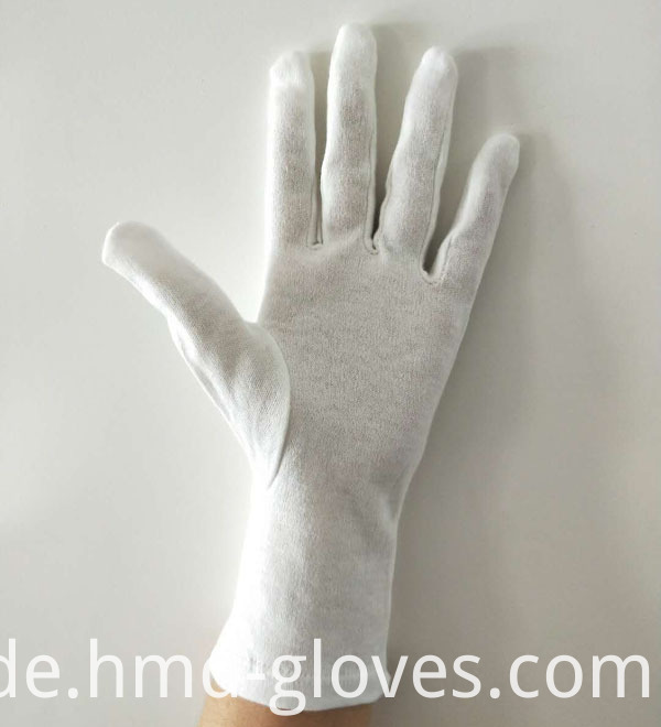 Long Wristed White Cotton Gloves palm