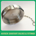Sanitary solid blind nut end cap with chain