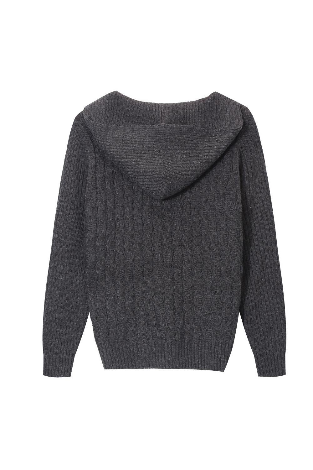 Men's Knitted Cable-Chain Buttoned Shawl Hoodie