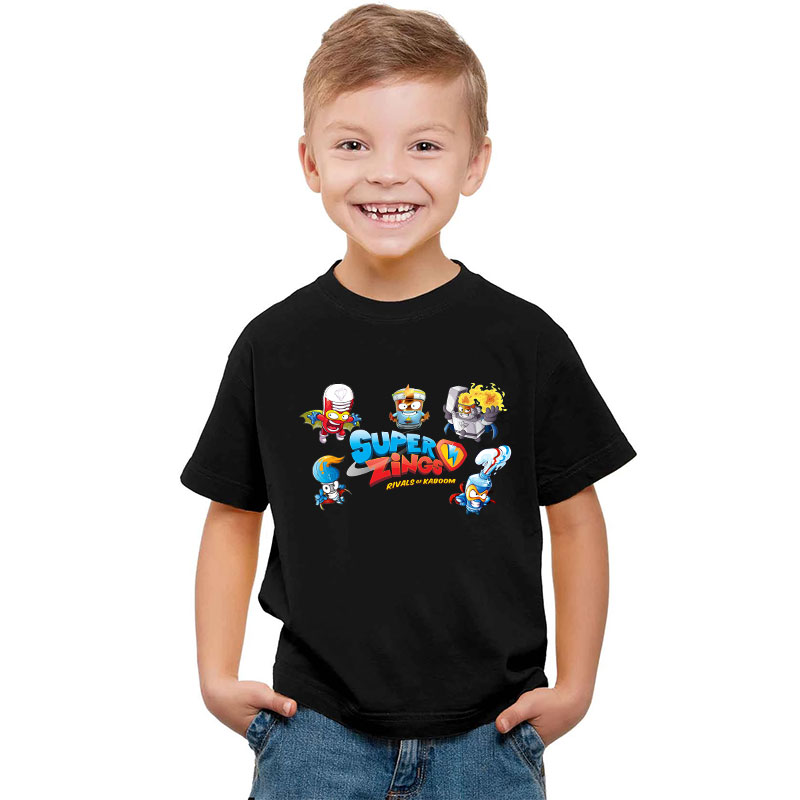 Cute Summer Tshirt Super Zings Superzings Printed Graphic Fashion T-Shirt Boys Girls Black Shirt Baby Tee Hipster Kids T Shirt