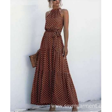 Top quality viscose print long dress in summer