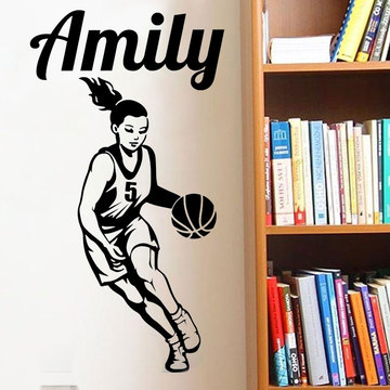 Customized Basketball Girl Name Wall Sticker Girl Teen Room Personalized Name Sports Wall Decal Bedroom Vinyl Sticker 3YD20