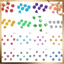 7Pcs/set Digital Dice Game Polyhedral Multi Sided Acrylic Dice Colorful Accessories for Board Game