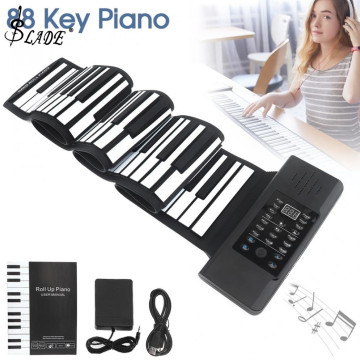 88 Keys USB MIDI Output Roll Up Piano Rechargeable Electronic Silicone Flexible Keyboard Organ Built-in Speaker