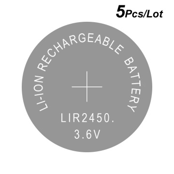 Lithium Button Coin Cell Batteries Li-ion Rechargeable Battery LIR2450 3.6V 5 PCS - 2450 Replaces CR2450