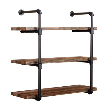 Industrial Steel Pipe Wooden Shelf