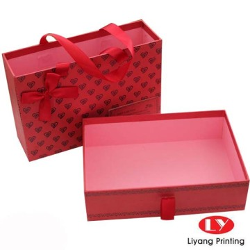 Sliding drawer box for package with paper bag